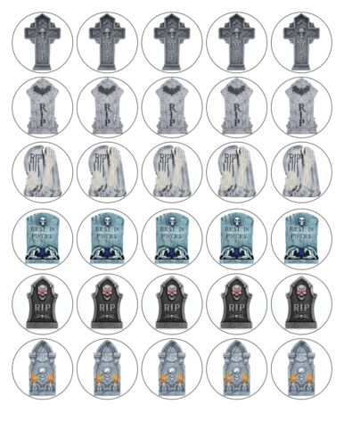 30x 4cm GRAVESTONES HALLOWEEN EDIBLE FONDANT//WAFER FAIRY CUP CAKE TOPPERS