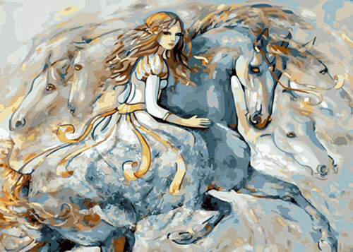 Impressionism Young Beauty /& White Horse Needlepoint Canvas #6
