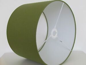 Olive Green Plain Cotton Fabric Drum Lampshade Lightshade