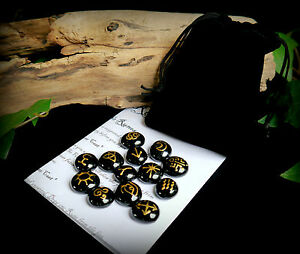 13-WITCHES-RUNES-amp-BAG-Black-and-Gold-Witch-Wicca-Pagan-Divination-Gift