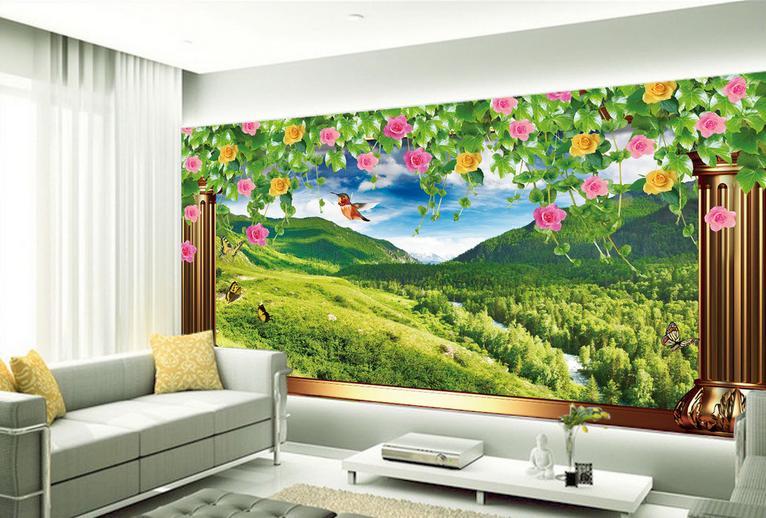 3D Vogel Rose Berg 854 Tapete Wandgemälde Tapete Tapeten Bild Familie DE Summer