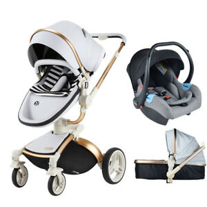 310a8fa9e Baby Stroller 3 in 1 travel system Bassinet PU infant buggy ...