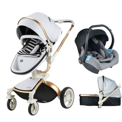 Baby Stroller 3 in 1 travel system Bassinet PU infant buggy Pushchair/&car seat