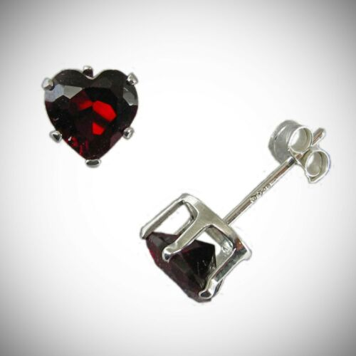6 mm Rouge grenat Coeur Clous Post Boucles d/'oreilles en solide argent sterling 925-NOUVEAU!