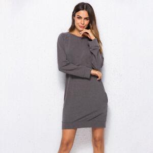 Fashion-Women-Solid-Long-Sleeve-Casual-Loose-Sweater-Jumper-Mini-Dress-Tops-FA