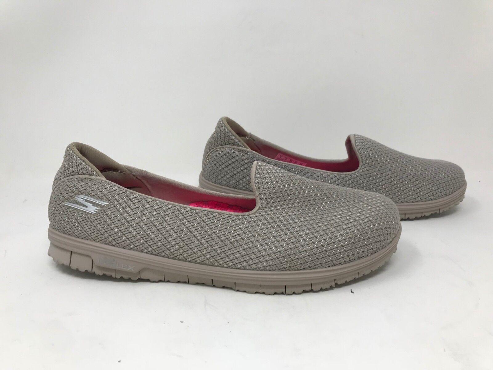 New  Womens Skechers 14007 Go Mini Flex Walk Athletic Slip-Ons- Taupe 32Z