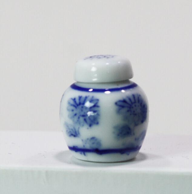 Dollhouse Miniature Unique Blue Ceramic Vase or Jar with Lid