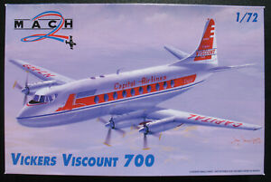 MACH-2-VICKERS-VISCOUNT-700-Capital-Airlines-1-72-Modellbausatz-Model-Kit