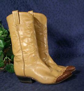 Vint Tony Lama Peanut Brown Lizard Toe Cowboy Boot 4 5b Ebay