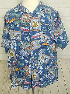 Disney Mickey Mouse Button Hawaiian Paradise Exotic Shirt Pluto Daisey Sz XL