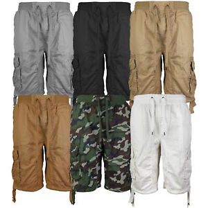 LR-Scoop-Men-039-s-Elastic-Waist-Drawstring-Multi-Pocket-Cotton-Cargo-Shorts-CJS-80