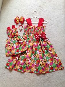 new handmade red shopkins dress toddler girls 2t 9 10 doll dress