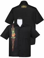 Steady Clothing Rat Fink Pinstripe Panel Button Up Hot Rod Character Retro Shirt