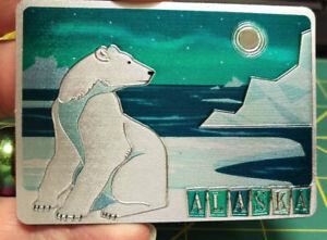 Alaska-Magnet-Polar-bear-foil-magnet-Beautiful-Aurora-and-ice-scene