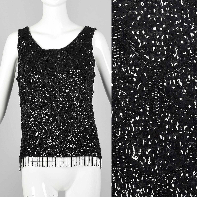 Medium 1960s Sleeveless schwarz Beaded Blouse 60s Knit Tank Vintage Sequin Top VTG