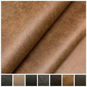 AGED BROWN DISTRESSED ANTIQUED SUEDE FAUX LEATHER LEATHERETTE UPHOLSTERY FABRIC