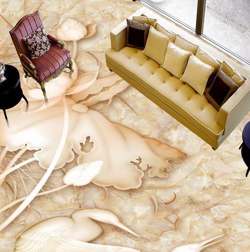 3D Talla Lotus Grúa Papel Pintado Mural Parojo Calcomanía de impresión de piso 5D AJ Wallpaper