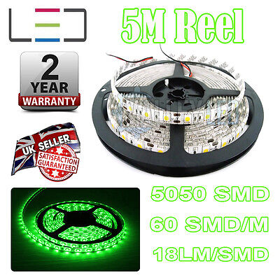 Preciso 5m 24v Led Verde Striscia Luminosa Ip65 5050 300smd 18lm / Smd 60smd / M Bright Impermeabile-