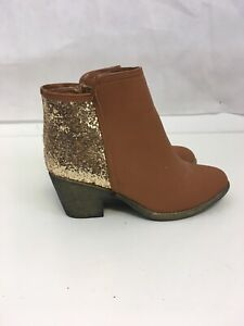 gold glitter ankle booties