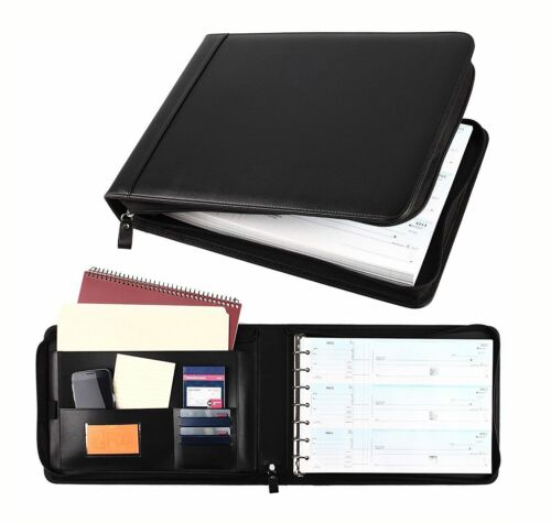 7 Ring Business Check Book 3-on-a-page PU Leather Zipper Checkbook Binder Black