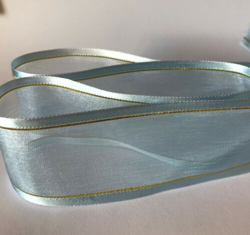 Satin Edge With Metallic Gold Stripe Organza Sheer Chiffon Ribbon NEW