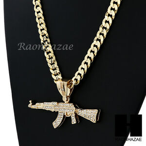 Hip hop iced out ak 47 gun big pendant diamond cut cuban link chain image is loading hip hop iced out ak 47 gun big mozeypictures Gallery