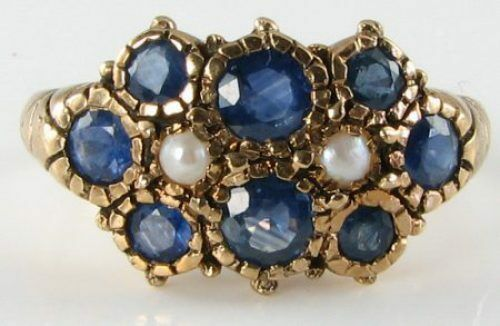 DIVINE 9k 9CT gold blueE SAPPHIRE &  PEARL CLUSTER ART DECO INS RING RESIZE