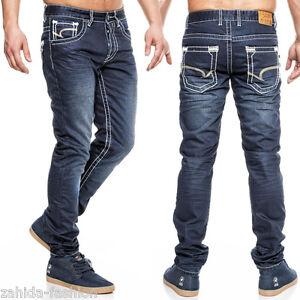 ZAHIDA-One-Public-UOMO-JEANS-Pantaloni-Kosmo-Clubwear-Blu-Scuro-Lupo-Cargo-Nuovo
