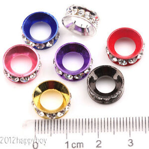 Mixed-Czech-Rhinestones-Rondelle-Loose-Spacer-Large-Hole-Beads-12x5mm-Craft-DIY