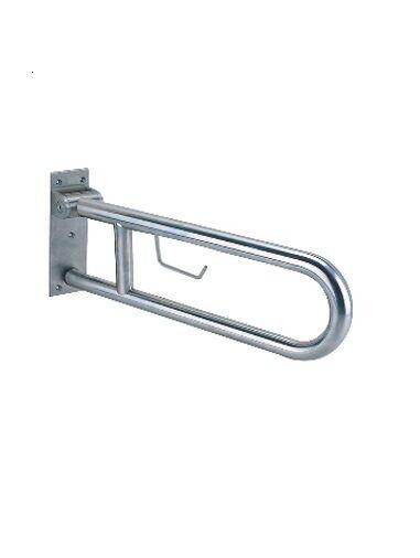 Barra abatible de acero inoxidable de 80 cm con portarrollos