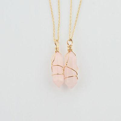 Natural Quartz Crystal Stone Point Chakra Healing Gemstone Pendant Necklace Mix
