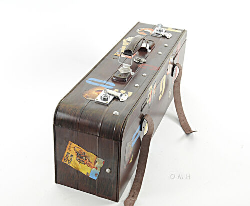 "Suitcase Vintage Reproduction Metal Model 30"" Decorative Luggage Box Decor New"