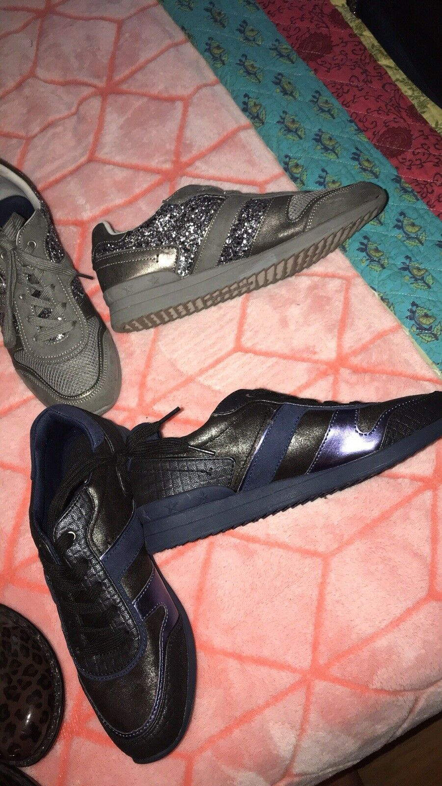 g by guess sneakers (two pairs, silver with sparkles and black with blue/purple)