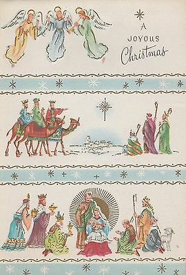 Vintage Christmas Card Angels Wise Men Nativity Wallace Brown Unused Mid Century