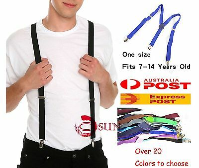 7-14 Years Old BOY Teenage 25mm Pants Suspenders Braces Elastic over 20 Color