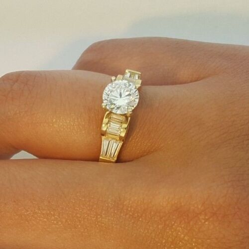 Details about  /14k Solid Yellow Gold 1.5 CT Diamond Engagement Ring Round Cut Solitaire