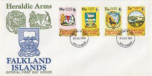 Charmant Falkland Islands: 1975 Héraldique Armoiries Ensemble Sg 311-4 Illustré Fdc-afficher Le Titre D'origine Rendre Les Choses Pratiques Pour Les Clients