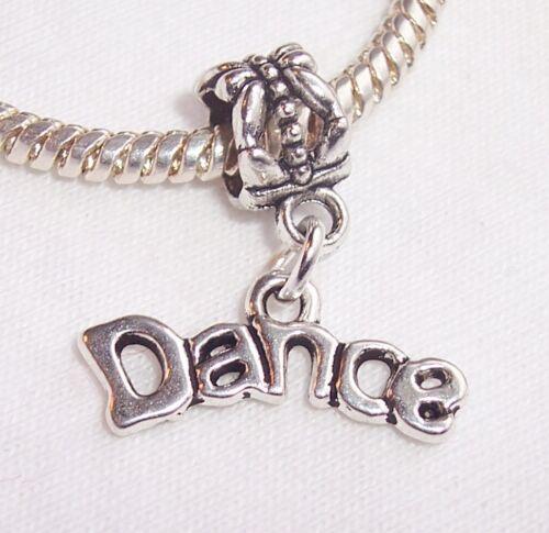 Palabra De Baile Bailarina Ballet encanto colgante de plata europea del grano pulseras de diapositiva