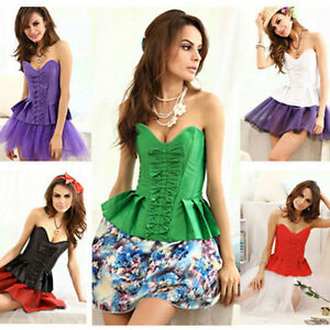 Sexy Peplum Top Lace Up Strapless Satin Boned Bustier Butterfly Bow ... e5b7fc7d4