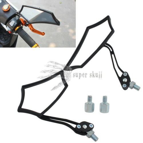 Motorcycle Styled Polygon 8mm 10mm Black Adjustable Rearview Side Mirrors Custom