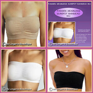 91109f601a06f Image is loading SEAMLESS-Padded-Bandeau-Bra-by-Surefit-S-3XL-