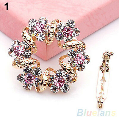 ELEGANT KOREAN BROOCH JEWELRY LUXURY RHINESTONE GARLAND SCARF CLIP BROOCHES PIN