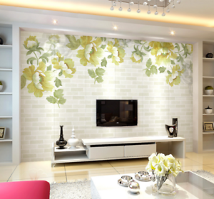 3D Green Laef Peony 74 Wall Paper Murals Wall Print Wall Wallpaper Mural AU Kyra