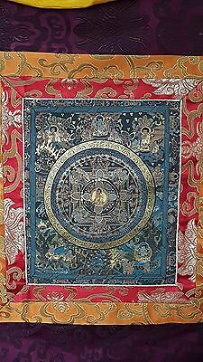 Tibetan Thangka Hanging with Brocade Border