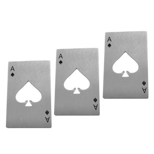 3er Pack Poker Card Pik Ass Home Bar Bierdeckel Flaschenöffner Werkzeuge