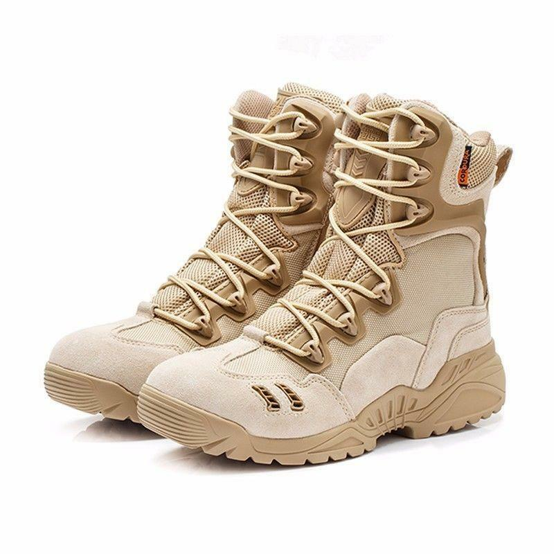 Army shoes Mens Tactical Comfort Desert Leather Riding Boots High Top Lace Up