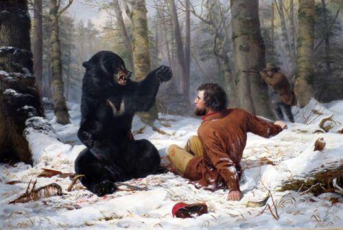 "Bear 16/""x11/"" Arthur F Tait Western Art Life of a Hunter Home Decor Rifle"