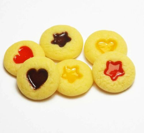 6 Mixed Dollhouse Miniature Jam Dot Cookies*Doll Mini Food Bakery Cookie Biscuit