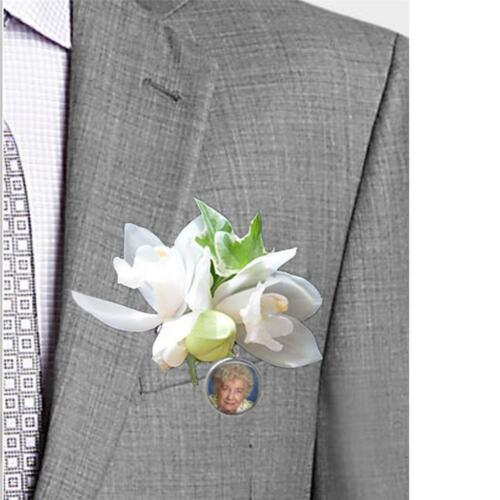 Custom Personalized Wedding Bouquet Boutineer Memorial Photo Clip on Charm 20mm