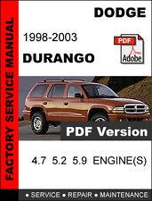 dodge durango 1998 1999 2000 2001 2002 2003 repair service workshop rh ebay com 2003 dodge durango repair manual pdf dodge durango repair manual download